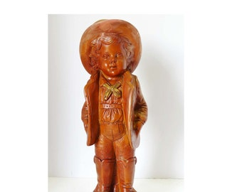 Signed Jarv 1974 English Child Made of Resin Brown with Gold Leaf Home and Garden Collectibles Figurines