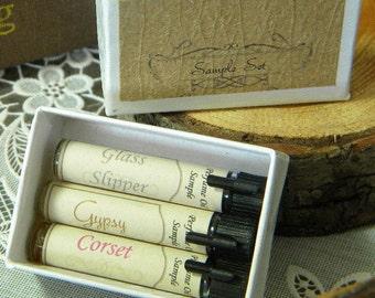 Mini Perfume Sample Set, Mini Perfume oil, Set of three, Natural Perfume, Perfume Oil, Essential Oil