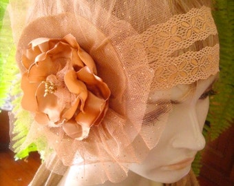 Wedding Headpiece Bridal Hairpiece  fascinator With Handmade Coffee Latte Satin Flower