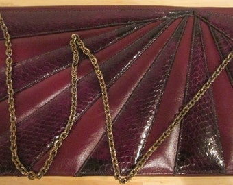 Snakeskin Handbag Clutch. NWT. Burgundy Leather Handbag. Caprice Handbag