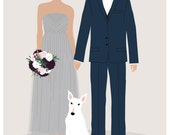 Custom couple portrait wedding invitation, custom portrait wedding suite