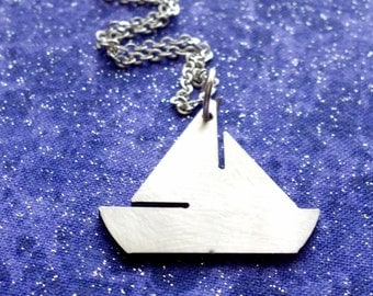 Sailboat - Necklace Pendant or Keychain
