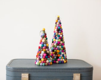 Felt ball tree, Original modern felt ball pom pom Christmas tree 20cm
