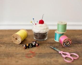 Needle Felted Cream Cupcake Eco Friendly decoration Pincushion