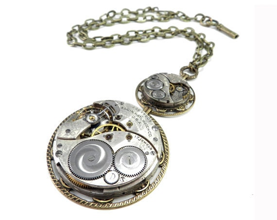 Steampunk Necklace, Luxe Ornate Special Occasion Clockwork Necklace, High Fashion Statement Necklace, Steampunk Jewelry by compassrosedesign