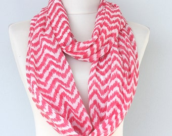 Chevron scarf infinity scarf red and white circle scarf loop scarf chevron print scarf chiffon scarves for women christmas gift for her