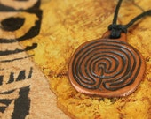 Bronze Labyrinth Disk Pendant or Necklace- Ancient Style from Greek Coin Design in Cast Metal - Pagan Gifts  LD-B