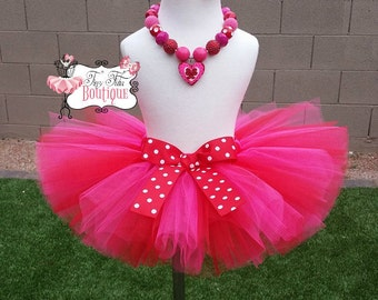Happy Valentines- Pink and Red Polka dot baby/child tutu with matching hairbow:  Newborn-5T