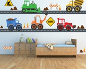 Construction Trucks Decals REUSABLE Fabric Decals, SIXTEEN FEET of Roadway, A171