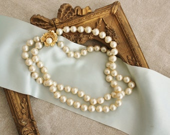 Vintage Vogue 2 Strand Simulated Pearl Necklace