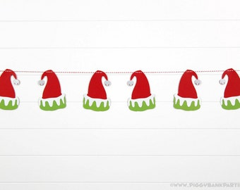 ELF HAT Garland : Handcrafted Christmas Bunting | Christmas Party Decoration | Christmas Elf Party Decoration | Santa Hat | Photo Prop