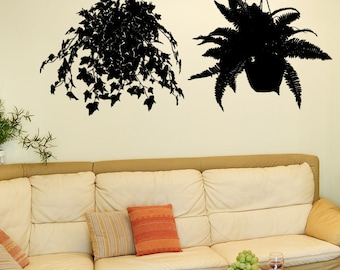 Vinyl Wall Decal Sticker Pair Of Hanging Plants 5428A