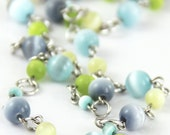 Angelic Light - Colorful Pastel Pale Light Yellow Sky Blue Aqua Lime Green Denim Silver Beaded Necklace - Spring Easter