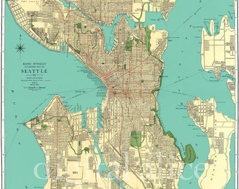Vintage 1920s Seattle STREET MAP City of Seattle