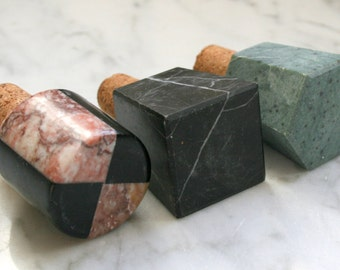 SALE PRICE Set of Three Marble Stone Cork Stoppers