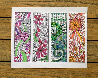 Bookmarks to Color, Adult Coloring Page, Instant Download, Print and Color Bookmarks, Zentangle Spring Design - Digital Download, Zendoodle