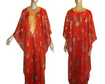 Vintage Red Muticolor Floral Print Gold Metallic Trim Sequin Embellish Ethnic Hippie Boho Angel Kimono Sleeve Multifunctnl Long Caftan Dress