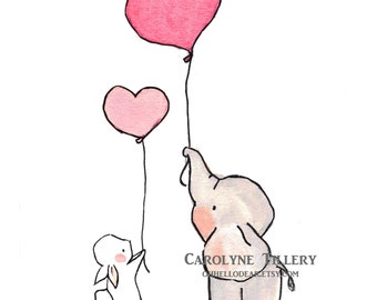 Flying Hearts Pink -- Archival Print