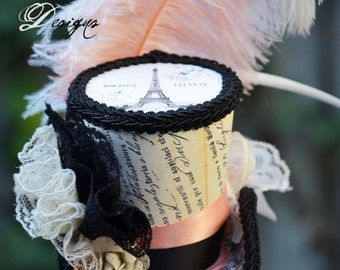 Ooh-La-La Paris inspired mini mini top hat fascinator Ready to Ship