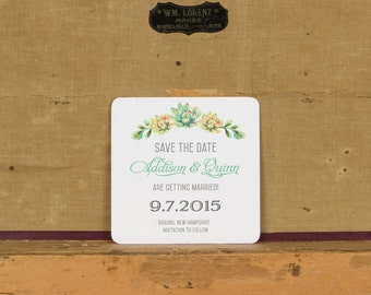 Rustic Succulent Save the Dates,Rustic Floral Save the Date,Rustic Botanical Wedding Invitation, Succulent Botanical Save the Dates