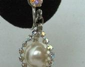 Vintage Pearl Drop Earrings Aurora Borealis Rhinestones Faux Pearls 1940 Classic