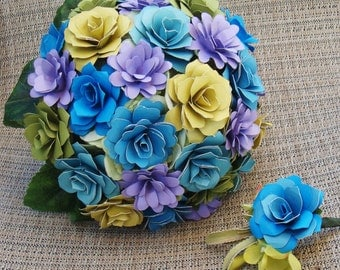 Paper  Flower Summer  Wedding Bouquet /Bridesmaids/ Rehearsal bouquet / Toss Bouquet 8 to 9 inches