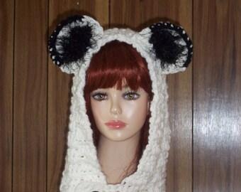 Animal Hooded Cowl  /  Chunky Bear Hats /  Bear Animal Crochet Hat and scarf / Chunky Bear Hooded Cowl