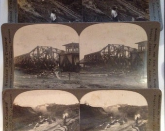 Antique Stereoview Cards Panama Canal Photos Keystone Lot of 3 1910 - 1913 Vintage Photographs