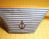Nautical toiletries bag, makeup bag, cosmetic bag, shaving bag, wash bag, dopp kit, embroidered anchor, cotton mattress ticking