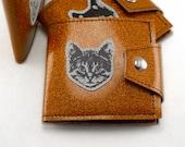 Orange Sparkle Wolf, Tiger, or Cat Wallet, You Choose We Sew