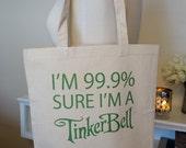 princess tote bag, tinker bell, disney fairy, disney princess, 99.9% princess, tote bag, disney, princess tote bag
