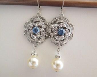 Bridal pearl Earrings Wedding crystal EarringsChandeliers earrings Ivory swarovski pearls Something Blue Earrings swarovski crystal ROSELANI
