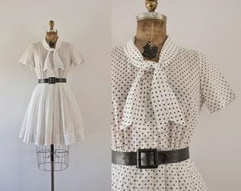 1960s American Diner sheer polka dot day dress / 60s Korell beauty