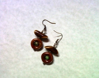 Red, Green and Brown Ceramic Earrings (1700)