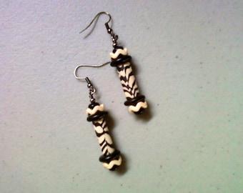 Black and White Zebra Stripe Ethnic Earrings (1399)