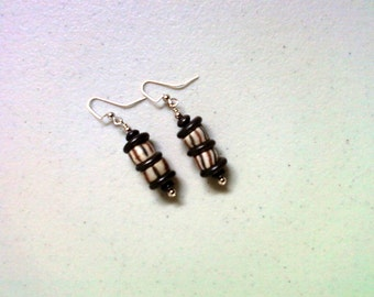 Gray, Black and Brown Ethnic Earrings (1428)