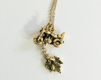 Scooter Maple Leaf Pendant Necklace- OOAK, Vintage Assemblage, Goldtone, Canadiana