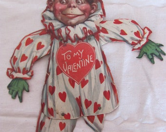 Antique Freaky Victorian Boy Large Heavy Mechanical Valentine