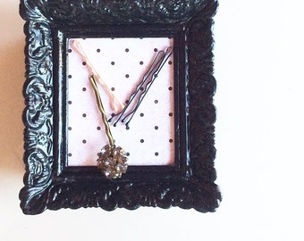 Bobby Pin Holder, Hair Pin Holder, Sewing Pin Holder, magnetic picture frame, picture frame with magnets: pink victorian and black