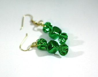 Green Metallic Christmas Candy Repurposed Christmas Ornament Earrings - Christmas Earrings - Charm Earrings