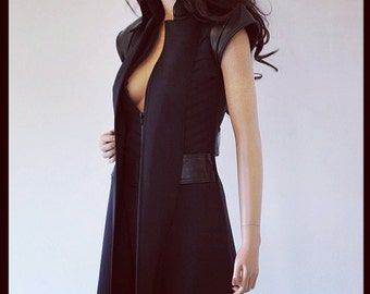 Steampunk Sleeveless Long Jacket Leather Zipper Fashion Coat Goth CHRISST