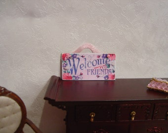 Dollhouse welcome sign miniature one inch scale 1:12