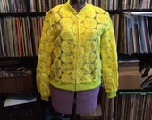 SALE Yellow Floral Varsity Jacket