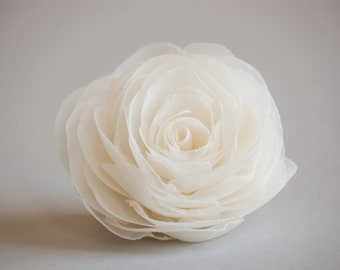 Ivory wedding hair flower, Bridal hairpiece, Wedding hair accessories, Organza bridal hair clip, Ivory rose hair flower