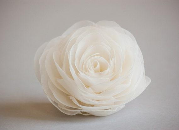 Ivory wedding hair flower, Bridal hairpiece, Wedding hair accessories, Organza bridal hair clip, Ivory rose hair flower