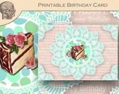 Printable DIY Birthday Card, Chocolate Cake and Lace Birthday Card, Pink Pastel Colors, Birthday Card for Her Graphics