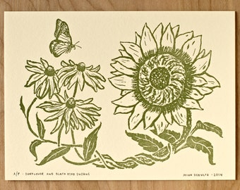 Sunflower and Black Eyed Susans - Letterpress Print