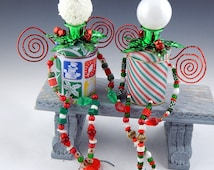 """OOAK Recycled, Upcycled, Found Object Christmas Folk Art Junk Fairy Twins, """"Frosty"""" & """"Holly"""""""