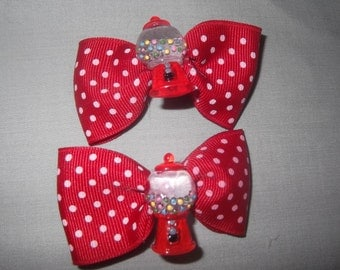 Pair of Red Gumball machine hair bows