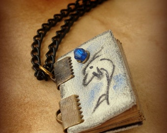 Dolphin Spirit Animal Mini Book Necklace  by Dryw on Etsy
